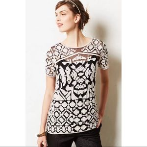 Anthropologie Everleigh Black Crochet Lace Top